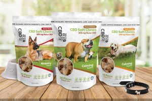 Photo of 3 CBD dog treatss packages, containing 30 pieces each.