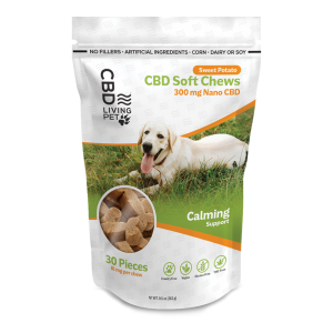 Photo of CBD Dog treats package containing 30 treats..